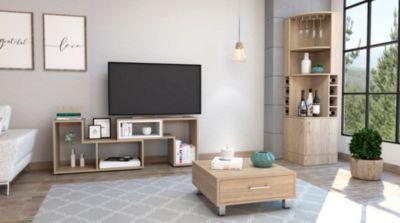 Bar Esquinero Kava + Rack Extensible TV 40'' + Mesa de Centro Beijing Rovere