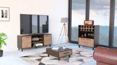 Rack TV 65'' + Bar + Mesa Centro Kaia Wengue/Miel