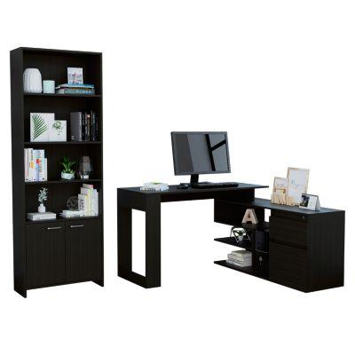 Combo Office 21 Escritorio + Biblioteca Wengue