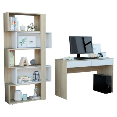 Combo Office 37 Escritorio + Biblioteca Rovere/blanco