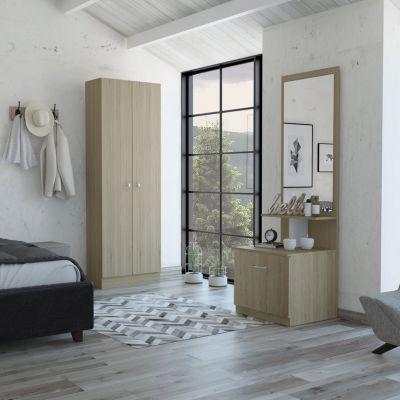 Combo Dreams 9 Closet + Velador Multifuncional Rovere/Blanco