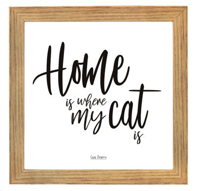 Cuadro Home Is Where My Cat Is 17x17cm