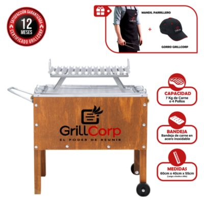 Caja China Mediana Junior Premium + Parrilla V Fija + Mandil Parrillero + Gorro