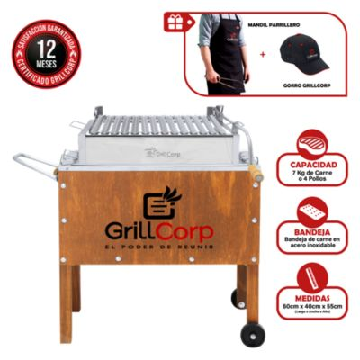 Caja China Mediana Junior Premium + Parrilla con Sistema de Levante + Mandil Parrillero + Gorro Grillcorp