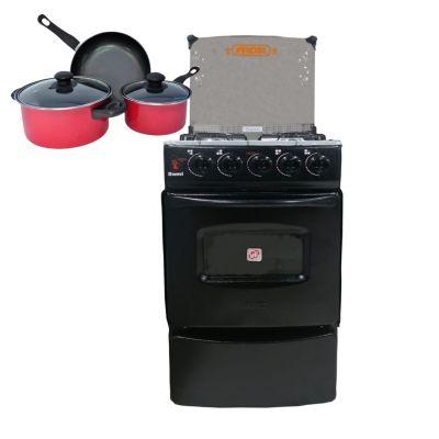 Cocina a Gas 4 Quemadores Negro + Juego de Ollas