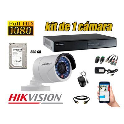 Kit 1 Cámaras de Seguridad Full HD 1080p Disco 500GB Vigilancia + Kit de Herramientas Gratis