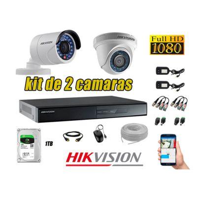 Kit 2 Cámaras de Seguridad Full HD 1080p Disco 1TB Vigilancia + Kit de Herramientas Gratis