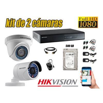 Kit 2 Cámaras de Seguridad Full HD 1080p Disco 500GB Vigilancia + Kit de Herramientas Gratis
