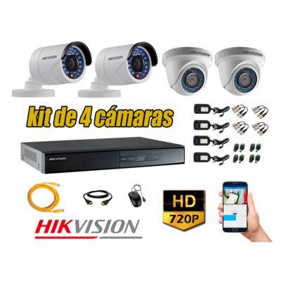 Kit 4 Cámaras de Seguridad HD 720p P2P Vigilancia + Kit de Herramientas Gratis