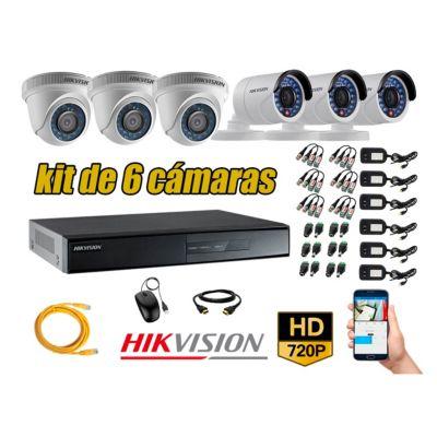 Kit 6 Cámaras de Seguridad HD 720p P2P Vigilancia + Kit de Herramientas Gratis
