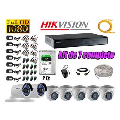 Kit 7 Cámaras de Seguridad Full HD 1080p 2TB Vigilancia + Kit de Herramientas Gratis