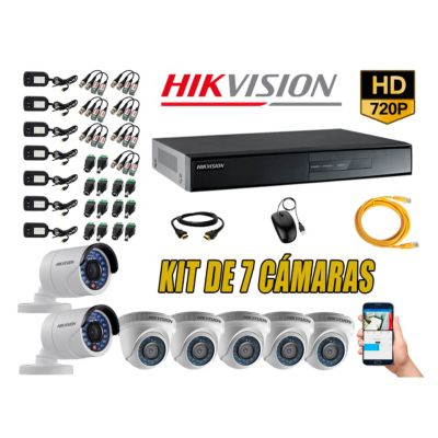 Kit 7 Cámaras de Seguridad HD 720p P2P Vigilancia + Kit de Herramientas Gratis