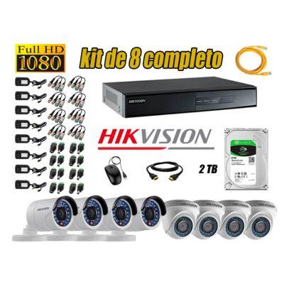 Kit 8 Cámaras de Seguridad  Full HD 1080p Disco 2TB Vigilancia + Kit de Herramientas Gratis
