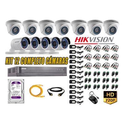 Kit 12 Cámaras de Seguridad  HD 720p 2TB Vigilancia + Kit de Herramientas Gratis