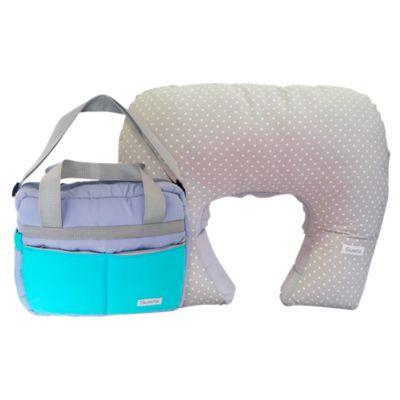 Pack Almohada de Lactancia Celeste + Bolso Pañalero Verde Agua