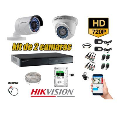 Kit 2 Cámaras de Seguridad HD 720P 1TB Vigilancia + Kit de Micrófono