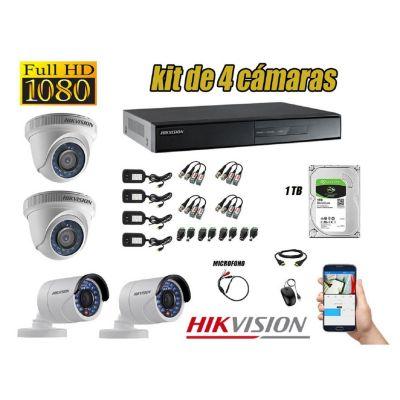 Kit 4 Cámaras de Seguridad Full HD 1080P 1TB Vigilancia + Kit de Micrófono
