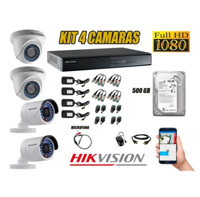 Kit 4 Cámaras de Seguridad Full HD 1080P 500GB Vigilancia + Kit de Micrófono