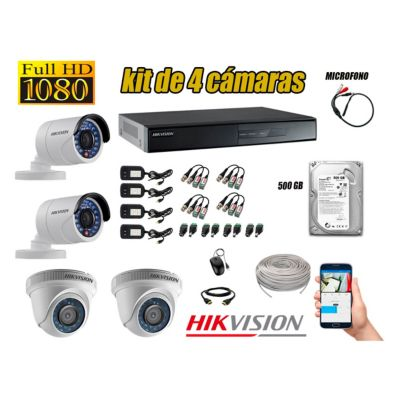 Kit 4 Cámaras de Seguridad Full HD 1080P Disco 500GB Vigilancia + Kit de Micrófono