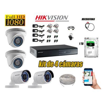 Kit 4 Cámaras de Seguridad Full HD 1080P Disco 1TB Vigilancia + Kit de Micrófono