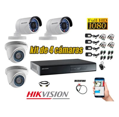 Kit 4 Cámaras de Seguridad HD 1080p Vigilancia + Kit de Micrófono