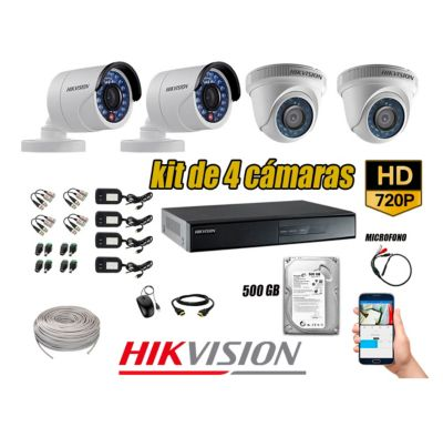 Kit 4 Cámaras de Seguridad HD 720P Disco 500GB Vigilancia + Kit de Micrófono