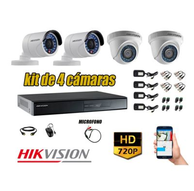 Kit 4 Cámaras de Seguridad HD 720P P2P Vigilancia + Kit de Micrófono