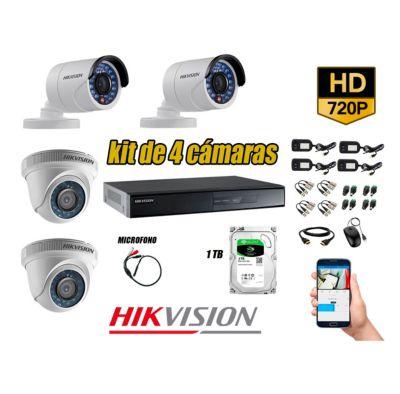 Kit 4 Cámaras de Seguridad HD 720P 1TB Vigilancia + Kit de Micrófono