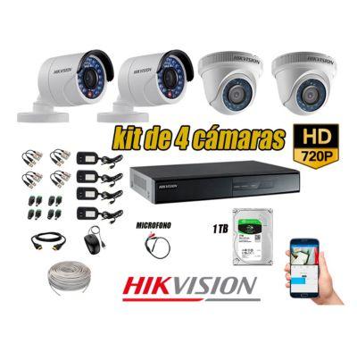 Kit 4 Cámaras de Seguridad HD 720P Disco 1TB Vigilancia + Kit de Micrófono