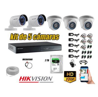Kit 5 Cámaras de Seguridad HD 720P 2TB Vigilancia + Kit de Micrófono