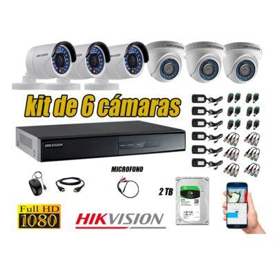 Kit 6 Cámaras de Seguridad Full HD 1080P Disco 2TB Vigilancia + Kit de Micrófono