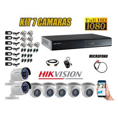 Kit 7 Cámaras de Seguridad Full HD 1080P P2P Vigilancia + Kit de Micrófono