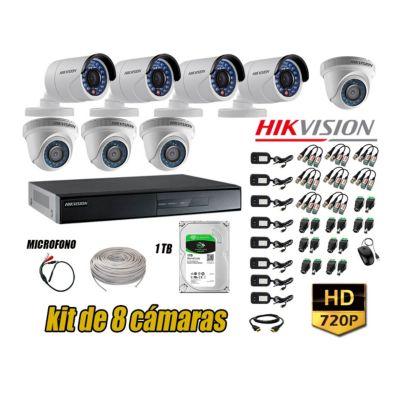 Kit 8 Cámaras de Seguridad HD 720P + Disco 1TB Vigilancia + Kit de Micrófono