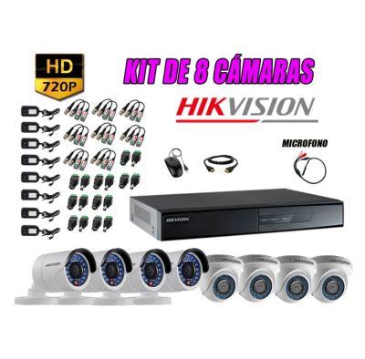 Kit 8 Cámaras de Seguridad HD 720P P2P Vigilancia + Kit de Micrófono