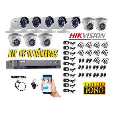 Kit 10 Cámaras de Seguridad Full HD 1080P P2P Vigilancia + Kit de Micrófono