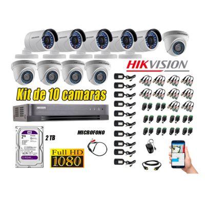 Kit 10 Cámaras de Seguridad Full HD 1080P Disco 2TB Vigilancia + Kit de Micrófono