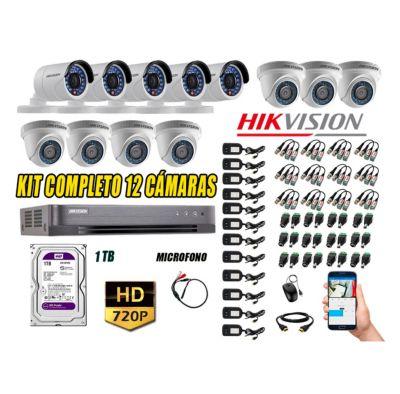 Kit 12 Cámaras de Seguridad HD 720P 1TB Vigilancia + Kit de Micrófono