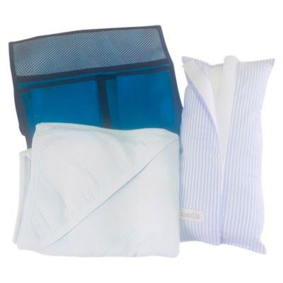 Pack Almohada para Cinturón de Seguridad Celeste + Organizador para Auto Verde Agua + Colchita Wafer Celeste