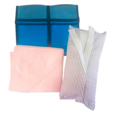 Pack Almohada para Cinturón de Seguridad Plomo Plata + Organizador para Auto Turquesa + Colchita Wafer Rosada