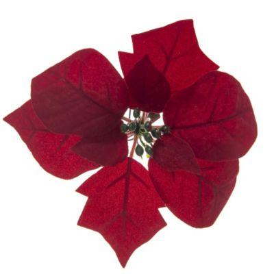 Adorno para Árbol Poinsettia Clip Rojo 18cm