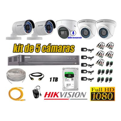 Kit 5 Cámaras de Seguridad Full HD 1080P 1TB | 01 Cámara con Audio Completo
