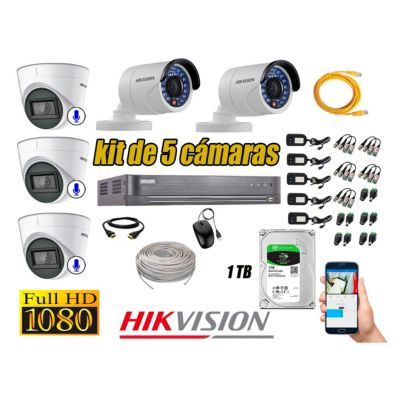 Kit 5 Cámaras de Seguridad Full HD 1080P 1TB | 03 Cámaras con Audio Completo