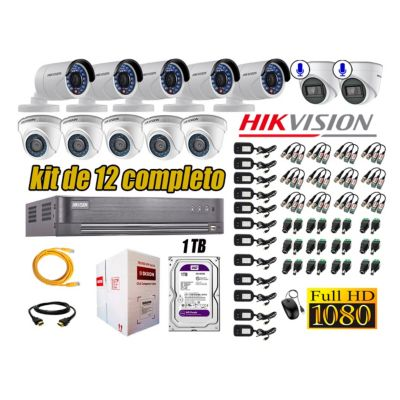 Kit 12 Cámaras de Seguridad Full HD 1080P 1TB | 02 Cámaras con Audio Completo