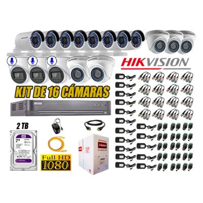 Kit 16 Cámaras de Seguridad Full HD 1080P 2TB | 03 Cámaras con Audio Completo