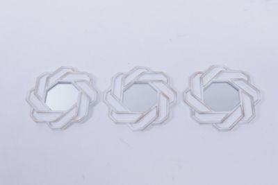 Set 3 Espejos Trenza Blanco