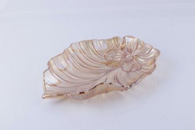 Plato de Vidrio Decorativo Dorado