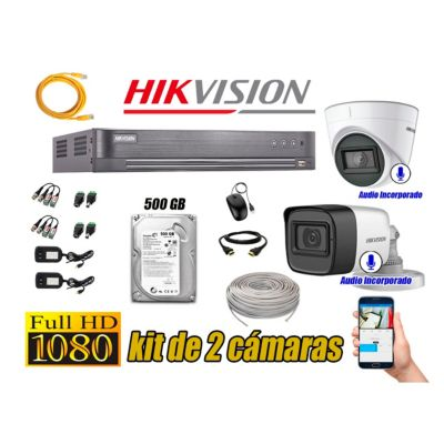 Kit 2 Cámaras de Seguridad Full HD 1080P | 02 Camaras Con Audio Incorporado P2P