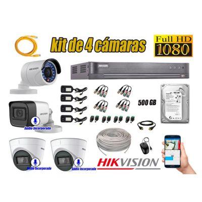 Kit 4 Cámaras de Seguridad Full HD 1080P | 03 Camaras Con Audio Incorporado KIT04-03S-L-67