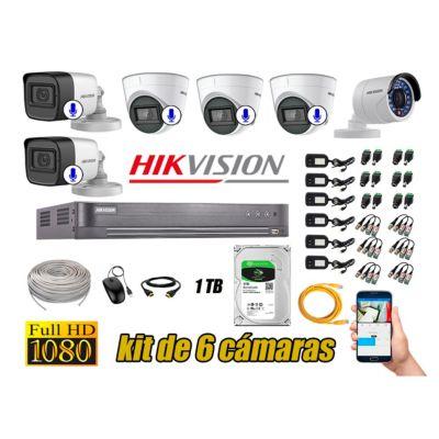 Kit 6 Cámaras de Seguridad Full HD 1080P | 05 Camaras Con Audio Incorporado