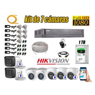 Kit 7 Cámaras de Seguridad Full HD 1080P | 05 Camaras Con Audio Incorporado